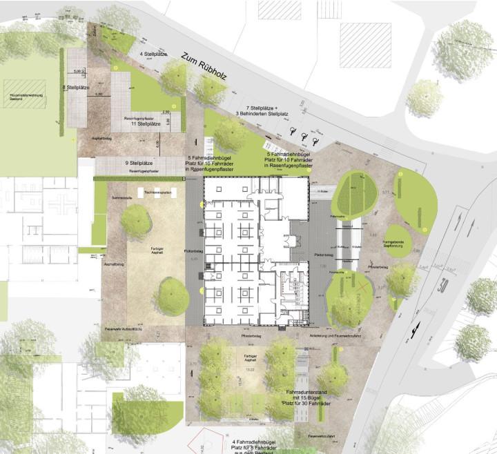Außenanlagenplan Eduard-Mörike-Mehrzweckhalle © LUZ Landschaftsarchitektur